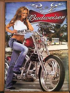Vintage Budweiser Biker Babe Myrtle Beach Poster