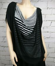 Olla Oh Top Sz M Black Layers White Stripes Stretch Flowy Loose Fit Cap Sleeves