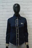 BURBERRY Camicia Blu Donna Taglia S Maglia Blusa Camicetta Shirt Woman Slim