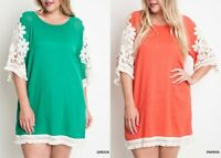 Umgee Plus Size (XL, 1XL, 2XL) Floral Crochet Sleeve Shift Dress Tunic Top