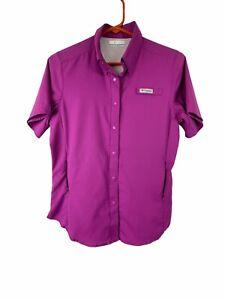 Columbia Women's PFG  Button Up Shirt XS Vented Back Pink Omni Shade Nylon