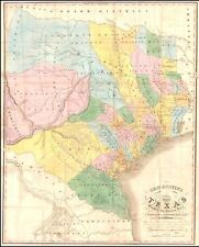1846 General Stephen F. Austins Map of Texas Republic POSTER 50626