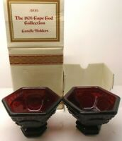 Avon 1876 Cape Cod Collection Ruby Red SET OF 2 CANDLE HOLDERS 1983 New in Box
