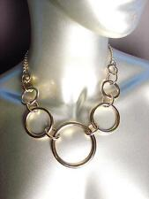 CHIC Urban Anthropologie Gold Metal Rings Chain Drape Necklace Earrings Set
