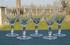 Val Saint Lambert - Lorraine Lemberg? Lot de 5 verres à vin rouge cristal taillé