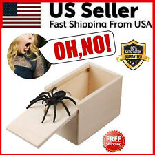 Wooden Prank Spider Scare Box Hidden in Case Trick Play Joke Scarebox Gag Toy