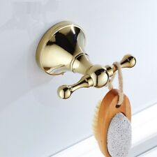 Wall Towel Robe Hook Small Bath Double Towel Holder/ Hanger Gold Color Brass