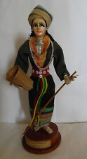Vintage Handmade Khae Yoa Woman Doll Figure National Costume Basket Collectible
