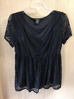 Women's Plus Size Torrid Black Lace Shirt Size 2