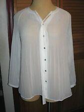 LANE BRYANT14/16 Ivory Accordian Pleated Tie Neck Blouse Off White 14W 16W 0X 1X