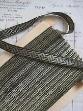 Antique/Vintage French Metallic Gold/Bk Greek Key Ribbon Galloon Trim Tape 11/16