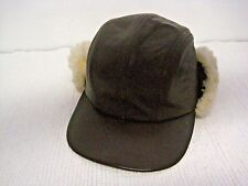 203c83a67df Vintage BRONER Genuine Lambskin Brown Sherpa Flaps Trapper Winter Hat Size  S-USA
