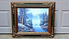 """ORIGINAL OIL ON CANVAS A WATERFALL IN FOREST SCENE SIGNED BY """"L.TAFFA"""""""