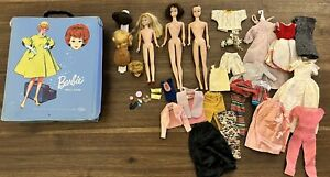 Vintage Lot of Barbie Midge Skipper Doll Case Clothes Wigs 1958 1959 1963