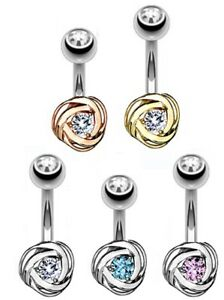 TITANIUM - Small Round Rose Belly Bar - Choose Colour - 6mm 8mm 10mm 12mm 14mm