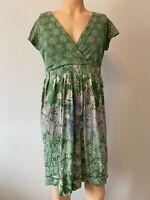 White Stuff Dress UK Size 14 Womens Ladies Green Floral Pattern Print Summer