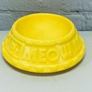 Vintage Ralston Purina Meow Mix Cat Kitten Yellow Food Water Bowl 1985