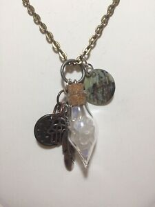 Handmade Moonstone Pendant Necklace W/ Charms Bronze-Tone Chain   30 Inches