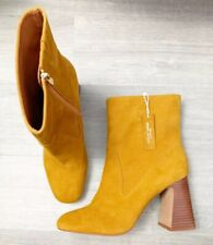 New Autograph Leather Suede Ochre Ankle Boots Block Heel Size 8 RRP £79