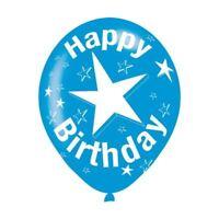 6pk Blue Happy Birthday Star Latex Balloons Celebration Decorations