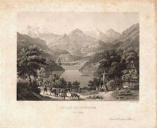 LUNGERN - Le Lac de Loungern - Original-Stahlstich um 1850!