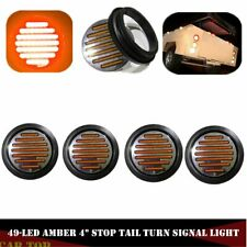 "4x 4"" Amber 12V Round 49 LED Truck Trailer Light Stop Turn Tail Reverse Lights"