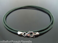 """2mm Dark Green Leather & Sterling Silver Necklace Or Wristband 16"""" 18"""" 20"""" 22"""""""