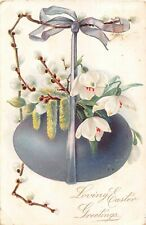 Large Purple Egg With Snowdrops & Catkins Hanging From Pussy Willows-1907 Easter