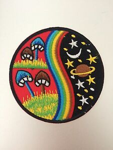 Mushrooms and Rainbows Patch - Iron On Badge Embroidered Motif - Hippy - #117