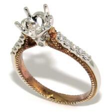 0.16 ct Round Diamond Engagement Ring Semi Mount Setting 18K Two-Tone Gold sz6.5