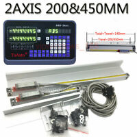 2Axis Digital Readout DRO+ 2pc Linear Glass Scale 200&450MM for Milling Lathe