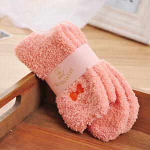 Women Warm Fuzzy Socks Embroidered Bow Cozy Crew Socks Bed Sleeping One Size