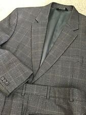 A GORGEOUS BROWN SUIT 44R, JOS A BANK PLAID/WINDOWPANE, VERY CLEAN AND MINTY!!