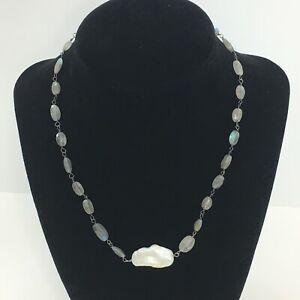 """Keshi Pearl Necklace Faceted Labradorite Beads Silver Plate Choker 16"""""""