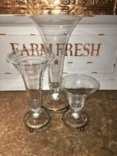 Southern Living at Home  Astoria Trumpet Glass With Metal Base Set Of 3 Vases