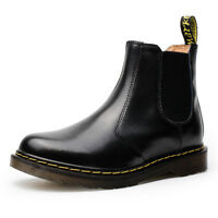 UK Women Casual Ankle Chelsea Boots Fur-Lined Flat Motorcycle Leather Shoes