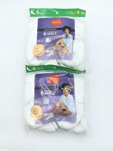 Hanes Womens Extended Size Ankle Socks 12 Pair Cushioned  Size 8-12