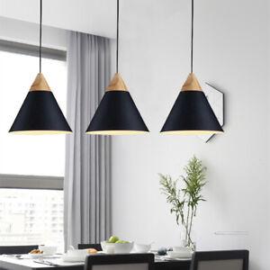 3X Black Lamp Wood Pendant Light Modern Ceiling Lights Bar Chandelier Lighting