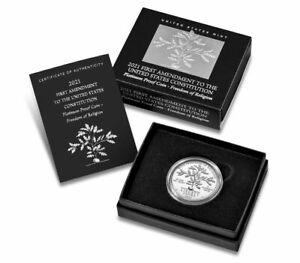 2021 W 1 oz Platinum American Eagle Freedom of Religion Proof $100 OGP