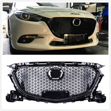 For Mazda 3 Axela 2017 2018 ABS Plastic Front Bumper Grill Upper Grille Black DN