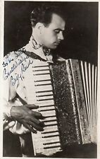 VINTAGE POSTCARD BILLY REID AUTOGRAPH HAND SIGNED INK CONCERTINA ACCORDION RP