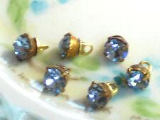 #1443B Vintage Glass Buttons Rhinestone Doll Clothing Tiny Swarovski Sapphire
