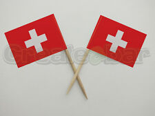 72 Switzerland Flag Picks -  Buffet Sandwich Cupcake Toppers - SWISS Flags