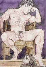 Oh boy, homme nu, watercolor print nude male king David