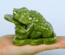 Feng Shui Three-legged Toad Jade Carving Wealth Lucky Fortune Home Furnishings