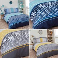 MODERN BRIGHT GEOMETRIC BEDDING QUILT DUVET COVER SET YELLOW GREY BLUE NAVY
