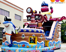 30x18x25 Commercial Inflatable Pirate Ship Bounce House Shark Water Slide Castle