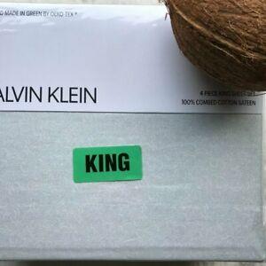 CALVIN KLEIN 100% Combed Cotton Sateen KING Sheet Set NWT - Aqua Geo Print