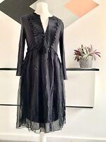 MINT VELVET Dress Size 8 Black Jersey Silk   SMART Occasion WEDDING Cruise RACES
