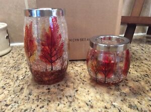 """New YANKEE CANDLE Set of """"Autumn Leaves """" Crackle Glass Tea-light Holders LG SM"""
